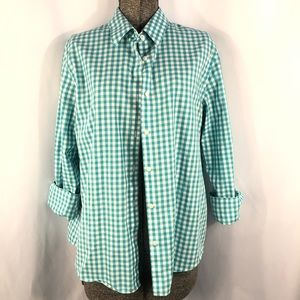 Jones New York Gingham Check Top Teal and White
